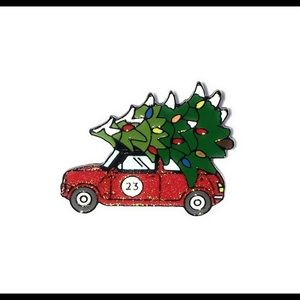 Red Car with Christmas Tree Enamel Pin